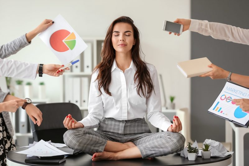 Business woman coping with stress