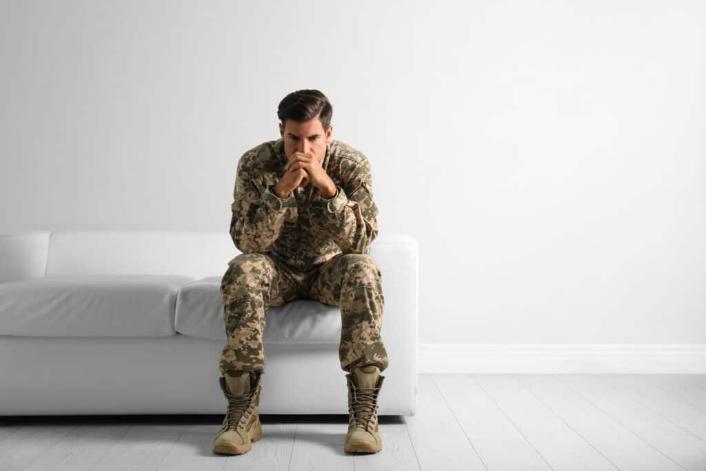 Military officer suffering with PTSD